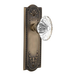 Nostalgic - Nostalgic Privacy-Meadows Plate-Oval Fluted Crystal Knob-Antique Brass - The antique brass Meadows Plate, with its intricate beaded detailing and botanical flourishes, creates an inspired design theme. Combined with our Oval Fluted Crystal Knob (24 individual hand-ground facets!), the look is elegant, but never fussy. All Nostalgic Warehouse knobs are mounted on a solid (not plated) forged brass base for durability and beauty.