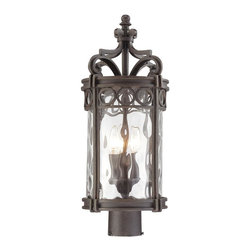 Minka Lavery - Minka Lavery Outdoor 9226-256 Regal Bay 3 Light Post Mount - Mouth Blown Clear Hammered Glass Shade