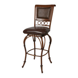 "Pastel Furniture - Rio Branco Swivel Barstool - The Rio Branco barstool brings traditional comfort with clean and elegant style.This swivel barstool features a quality metal frame with sturdy legs and foot rest finished in Ancestral Umber. The padded seat is upholstered in Stallion Brown offering comfort and style. Available in 26"" counter height or 30"" bar height. Assembled dimensions for this barstool: 47H x 18.25W x 23.375D"