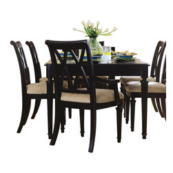 American Drew - American Drew Camden-Dark 8-Piece Leg Dining Room Set in Black - The Camden-Dark accents simple forms with quiet traditional references, gentle curves and a beautiful rustic black finish that lets the character of the wood show through. The brushed nickel finish hardware adds even more character to Camden. This collection will work great in most any setting. Create an urban rustic loft, a classic antique look or a mountain vacation home.
