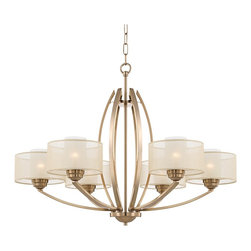 "Possini Euro Design - Possini Euro Alecia 34"" Wide Satin Brass Chandelier - Create a stunning focal point in your living space with this elegant brushed bronze chandelier. The structured design features a gracefully curving center openwork frame and arms. Six faux silk outer shades wrap around frosted glass diffusers for a warm glow when illuminated. From Possini Euro Design. 6-light chandelier. Brushed bronze finish. Transparent drum shade. Frosted glass diffusers. Takes six maximum 100 watt bulbs (not included). 34"" wide. 26"" high. Includes 6 feet chain and 12 feet wire. Canopy is 6 1/2"" wide. Hang weight is 15 pounds.  Satin brass  finish.  Transparent drum shade.  Frosted glass diffusers.  A stylish large chandelier.  Takes six maximum 100 watt bulbs (not included).  34"" wide.  26"" high.  Includes 6 feet chain and 12 feet wire.  Canopy is 6 1/2"" wide.  Hang weight is 15 pounds."