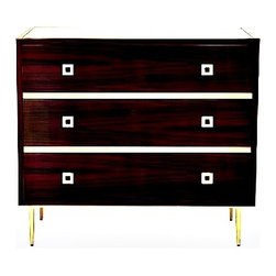 Worlds Away - Hudson Three Drawer Chest by Worlds Away - Rosewood 3 Drawer Chest With Gold Leaf Hardware & Base