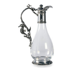 Sea Life Wine Decanter - Familiar beaded borders are made new by a lively variation of scale, turning the appealing motifs into a playful chain of bubbles bordering the Sea Life Wine Decanter's cap.  The exquisitely controlled curve of the handle is textured to mimic a willowy branch of coral, while a delicate seahorse adds a hint of fantasy where the handle joins the teardrop glass body.