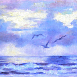 """""""Early Flight"""" (Original) By Carmen  Beecher - Sometimes The Pelicans Just Pose At The Right Moment. They Were Looking For Their Breakfast Early In The Morning."""
