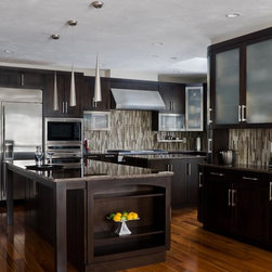 Walnut Contemporary Kitchen - Cabinetry by: Scandia Kitchens Inc.