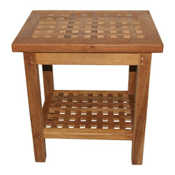 Classic Teak - Teak Checkerboard Shower Bench - Teak checkerboard shower bench made from high quality teak wood. It is perfect for sitting while showering, shaving legs or washing your feet. Perfect for bath, spa, sauna or bedroom seating, guest room, garden, patio, balcony, terrace, deck, outdoor and pool side. It can withstand weights upto 250LB