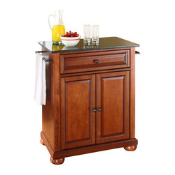 Crosley Furniture - Crosley Furniture Alexandria 28x18 Solid Black Granite Top Portable Kitchen Isla - Constructed of solid hardwood and wood veneers, this kitchen island is designed for longevity. The beautiful raised panel doors and drawer front provide the ultimate in style to dress up your kitchen. The deep drawer are great for anything from utensils to storage containers. Behind the two doors, you will find an adjustable shelf and an abundance of storage space for things that you prefer to be out of sight. Style, function, and quality make this kitchen island a wise addition to your home.