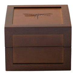 Hives & Honey - Hives & Honey Medium Bee Motif Box, Dragonfly - A part of our ever-popular Motif collection, the Medium Bee Box renders average storage solutions useless. With a beautiful, rich dark walnut finish, shiny stainless steel hardware, and an eye-catching laser-etched bee design, this piece is the perfect addition to any dresser, desk or tabletop. Staying organized is a cinch with the Medium Bee Box. Inside, you'll find a handy pull-out tray that boasts four convenient built-in compartments; use them to store your most prized possessions, like jewelry, cards, notes, pictures or even money – anything at all you want to keep hidden. Not sold on the Bee motif? We also offer this stunning piece with dragonfly, butterfly and sparrow options!