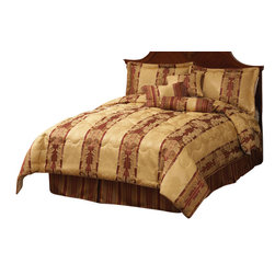 Pem America - Dakota Court Queen Comforter Set with Bonus Pillows - Classic gold and red scroll work jacquard woven look for the luxury bedroom.  The bold burgundy stripes have golden highlighted woven into the cloth.  This overfilled comforter comes with matching shams and decorative pillows.  Everything you need to complete the bed. Includes 1 queen comforter 86x86 inches with two standard shams (20x26 inches), bed skirt, and 3 decorative pillows. Jacquard woven polyester face cloth with 100% hypoallergenic polyester fiber fill. Dry clean only.