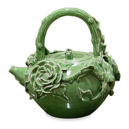 China Furniture and Arts - Hand Made Porcelain Teapot - As if by magic, a vine and roses covered pot transforms into a charming teapot. Completely handcrafted from China in crackle porcelain. Imported.