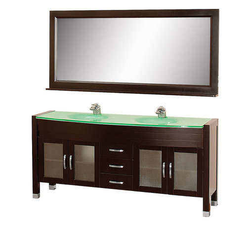 Wyndham - Daytona 71in. Double Bathroom Vanity Set - Espresso/Green Glass - The Daytona 71 in.  Double Bathroom Vanity Set - a modern classic with elegant, contemporary lines. This beautiful centerpiece, made in solid, eco-friendly zero emissions wood, comes complete with mirror and choice of counter for any decor. From fully extending drawer glides and soft-close doors to the 3/4 in.  glass or marble counter, quality comes first, like all Wyndham Collection products. Doors are made with fully framed glass inserts, and back paneling is standard. Available in gorgeous contemporary Cherry or rich, warm Espresso (a true Espresso that's not almost black to cover inferior wood imperfections). Transform your bathroom into a talking point with this Wyndham Collection original design, only available in limited numbers. All counters are pre-drilled for single-hole faucets, but stone counters may have additional holes drilled on-site.