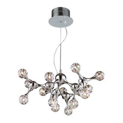 Elk Lighting - Elk Lighting 30025/15 Molecular Modern Chandelier in Polished Chrome - Elk Lighting 30025/15 Molecular Modern Chandelier in Polished Chrome