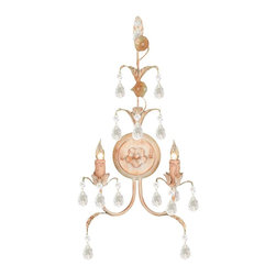 Crystorama - Crystorama Athena Wall Sconce in Champagne - Shown in picture: Athena Handpainted Wrought Iron Wall Sconce Adorned with Italian Crystal; Athena Collection offers casual yet elegant - whimsical and chic chandeliers and wall sconces.