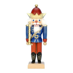 "Alexander Taron - Alexander Taron Christian Ulbricht Mini Nutcracker -King- 11""H x 3.75""W x 3.5""D - This regal wooden nutcracker king from Christian Ulbricht/Seiffener Nussknackerhaus is standing tall in his red and blue uniform - complete with gold crown - sash and sceptor. He will ""rule"" with dignity in any room you place him in. Made in Germany."