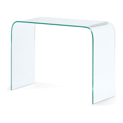 Zuo - Mecca Console Table - The Mecca Console Table is a solid piece of semi-tempered glass bent to perfection.  The clean, smooth lines of this table keep the space clutter-free.  Perfect for entryways and foyers.