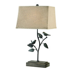 "Crestview - Crestview CVAER330 Park Side Table Lamp 28""Ht - Park Side Table Lamp 28""Ht   28""Ht., 8.5/14.5 x 12.5/15.5 x 10 Burlap Shade"