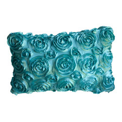 KH Window Fashions, Inc. - Textured Rose Pillow, Aqua, 16x20, With Insert - This textured rose pillow adds a pop of color to any space.  The texture and vibrant color is exquisite.