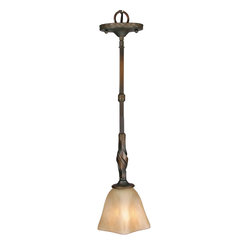 Golden Lighting - Meridian Mini Pendant - Whether displayed individually or hung in a group, this unique pendant is an eye-catching accent with a Mediterranean mindset. A flat, scrolling arm fitted with a square, antique marble glass shade casts light directly where you need it, like over a kitchen island or breakfast bar.