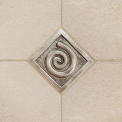 "2"" Aluminum Wall Tile with Swirl Design - Add interest and personality to your kitchen or bathroom with this 2"" aluminum accent tile.  The contemporary swirl design can be installed in different directions for added interest in a pattern."