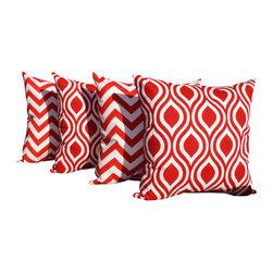 Land of Pillows - Nicole and Zig Zag Chevron Stripe Lipstick Red Set of 4 Decorative Throw Pillows - Fabric Designer - Premier Prints