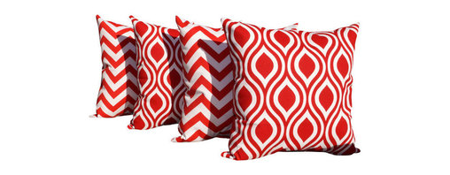 Land of Pillows - Nicole and Zig Zag Chevron Stripe Lipstick Red Set of 4 Decorative Throw Pillows - Fabric Designer - Premier Prints