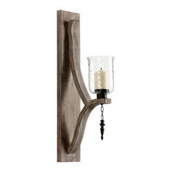 Kathy Kuo Home - Giorno Country Rustic Chunky Wood Candle Sconce - We love this earthy, metal candleholder for the hanging finial which underscores the candle, as well as the matte finished metal.  With dappled light glowing through the glass, this piece will deliver illumination and interest to any room, but is especially suitable for rustic inspired spaces.