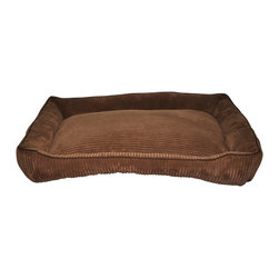 Loom and Mill - Loom and Mill DB0015 Dark Brown Corduroy Walled Pet Bed - Help your pet get extra cozy in this over-stuffed large walled dog bed. Made with the highest of quality fabric, this pet bed is velvety soft and over-stuffed for extra comfort. Your large pet will love this fabulous animal bed. Spot clean only.