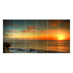 Picture-Tiles, LLC - Sunset Picture Kitchen Bathroom Ceramic Tile Mural  12.75 x 25.5 - * Sunset Picture Kitchen Bathroom Ceramic Tile Mural 1947