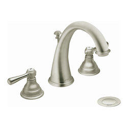 Moen - Moen T6125BN Kingsley 2-handle High Arc Brushed Nickel Bathroom Faucet - This Kingsley faucet from Moen combines a classic antique look with modern luxury. This bathroom faucet offers a high-arc design and a brushed nickel finish.