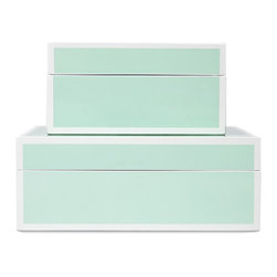Lacquer White Trim Box, Pistachio - Sit these boxes on a tall dresser in a kids' room for high-style toy storage. They come for a great price and would work to store both Matchbox cars and costume jewelry. Both daughter and son can be happy with these in their bedroom.