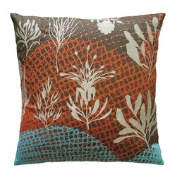 "KOKO - Ecco Pillow, Off-White Leaves, 20"" x 20"" - The little cream-colored leaves seem to be dancing across this pillow. You will love the contrast of the delicate embroidery and the bold and colorful fabric background. All the elements come together to make a beautifully textured piece for a sofa or side chair."
