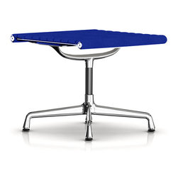 "Herman Miller - Herman Miller Eames Aluminum Ottoman, Fabric, Cobalt Blue - Herman Miller Eames Aluminum Group Ottoman, Fabric  by Charles and Ray Eames This Eames Aluminum Group Ottoman is the perfect addition to your Eames Aluminum Group Chair, particularly the Lounge Chair. This upholstered ottoman is the perfect match with its lightweight, polished aluminum frame and 1/2"" glides for hard floors or carpet. Available in a variety of fabric upholstery options for a stylish and more affordable piece. 18.25""H x 21""W x 21.5""D. See the entire Eames Aluminum Chair Group."