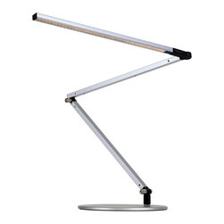 Koncept - Koncept Z-Bar LED Desk Lamp with Base, Cool Light, Silver - AR3000-CD-SIL-DSK - Z-Bar Desk Lamp features the award-winning three-bar design for ultimate reach and flexibility. The super-adjustable LED head can spin in its socket, sweep side to side, and rotate around the end of the arm to point in any direction. The touch strip is located near the LED head for easy access. Slide your finger along the strip to dim gradually, or touch the strip anywhere to jump directly to any brightness, including off. Compatible with optional occupancy sensor.