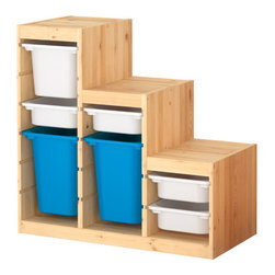 Studio Copenhagen - Trofast Storage Combination, Pine/White/Blue - This is such a clever storage system from Ikea. I love that the bins are easy to take out and that you can customize this storage system according to your needs. Perfect for a kid's room or playroom.
