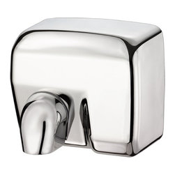 """Palmer Fixture - Conventional Series Hand Dryer in Bright Chrome - Touchless, automatic hand dryer constructed bright chrome finish with 2 vandal-proof lock screws. Nozzle is chrome plated zinc. Unit automatically shuts off when the users hands are removed with an approximate drying time of 20-25 seconds and an automatic power cut off after 60 seconds. The nozzle comes in the fixed position but can be adjusted in the field by removing the screw. Dryer delivers 202 CFM, air speed 63 MPH, Sound Level 70dB, motor type 1/4HP--200 W Brush type, motor thermostat turns unit off at 221 degrees Fahrenheit (105-_C), operation power 2400 W, 20 AMPS, 110/120 Volts, air output temperature 138 degrees Fahrenheit (53-_C)--ambient temperature 68 degrees Fahrenheit (20-_C), heating element 2200W. Instructions and mounting template included with every unit. Instructions and mounting template included with every unit. Unit should be installed by a certified electrician.; Dimensions: 11 3/16"""" L x 8 """" W x 9 3/4"""" H; Includes 1 key, type 6"""