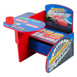 Disney Cars Chair Desk with Pull-out Under-the-Seat Storage Bin - The Disney Cars chair desk gives kids both a place to sit and an area for art projects or eating. A pull-out bin under the seat provides hidden storage space. I love all of its functionality!