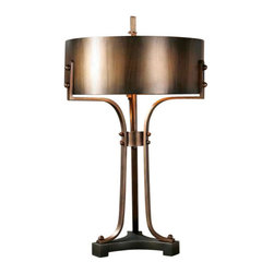 Uttermost Akron Copper Table Lamp - Hand forged metal with a washed copper finish accented with a dark bronze foot. Hand forged metal with a washed copper finish accented with a dark bronze foot. The round metal shade is a washed copper finish with burnished details.