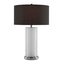 Currey & Company - Currey & Company Fargo Table Lamp CC-6661 - This modern design broadcasts glamour and chic. The Fargo Table Lamp's frosted glass body is mounted on a sleek metal base finished with Nickel. With a lavish Black shade, the Fargo is a splendid choice.