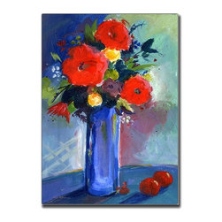 Trademark Art - Red Flowers by Sheila Golden Canvas Wall Art - Choose size: 18 in. x 24 in.Ready to Hang. 18 in. W x 24 in. L. 32 in. W x 32 in. L. 35 in. W x 47 in. LSheila Golden grew up in New York, attending the School of Visual Arts and the New School of Social Research in New York City, then worked in graphic design and illustration. After a move to California, she studied film animation, lithography and ceramics, and received her bachelor's degree in fine art. While living in California, Sheila became an important member of Artrails Open Studios and a guest artist in various schools, teaching classes on watercolor collage. In 1996, Sheila was chosen as an artist-in-residence at the well-regarded Buena Vista Winery in Sonoma.Sheila Golden has combined her multiple skills and talents to translate her love of nature into painting and collage. Her artwork is strongly influenced by the masters: Matisse, Chagall and Kandinsky, along with the great Abstract Expressionists. Sheila's commercial resume includes background art for Sesame Street, KQED Television, Hallmark, American Greetings and Sunrise Cards, among others, and is available in children's books, posters, prints, greeting cards and gift products. Her original watercolors and watercolor collages are exhibited in numerous juried art shows around the country and her work is represented in private as well as corporate collections in major cities like New York, Chicago, Washington, D. C. , San Francisco, Hong Kong, Italy and Germany.