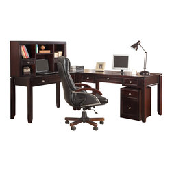 Parker House - Parker House Boston Modular L-Shaped Desk with Hutch and Rolling File in Merlot - Since 1946, Parker House has taken great pride to produce quality furniture while still keeping customer satisfaction a number one priority. As a family owned and operated company, Parker House has been able to stay true to their commitment by manufacturing solid wood furniture in a variety of rich finishes, accented with fine, exquisite details. Choose between a selection of unique collections of furniture ranging from entertainment centers, home office furniture, library walls, and media centers. Parker House exemplifies quality workmanship and materials with stunning beauty, ensuring that these furniture pieces will become fixtures in your household for generations to come.