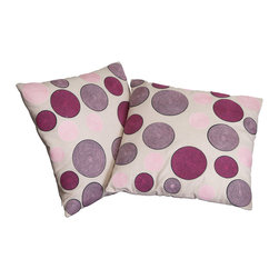"""Great Deal Furniture - 18"""" Linen Circles Pillows (Set of 2) - Add contemporary design to your seating areas with our decorative pillow sets. Featuring a linen blend cover, you'll find these pillows stylish and comfortable."""