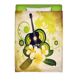 "Eco Friendly Made In USA ""Hawaiian Plumeria and Guitar"" Twin Comforter - Share Some Dreamy Hawaiian Nights In This Premium  Made In USA ""Hawaiian Plumeria and Guitar"" Twin Size Comforter From Our Surfer Bedding Bed and Bath Collection."