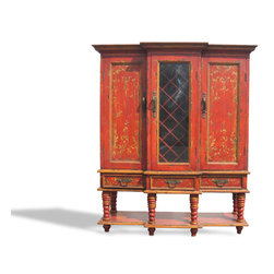 Essex Manor Wine Cabinet, Red Baroque with Gold Scrolls - Essex Manor Wine Cabinet, Red Baroque with Gold Scrolls