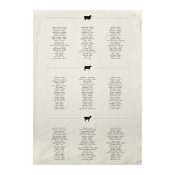 "Sir|Madam - Cheese List Tea Towel (Set of 4) - While the American dish towel originated from the prudent repurposing of used cotton feed sacks, the Sir|Madam collection was inspired by an English tea towel, made from pure linen to avoid surface lint when drying delicate china and glassware. Individually printed using silk screens, they are cut from running yardage that comes off the loom with selvage sides before they are hemmed by hand.  These towels give a thorough list of cheeses from around the world.  Think of it as your ""To Eat"" list. Towels come in a set of 4, each measures 18"" x 28"".   About the Artist: With a strong focus on domesticity and entertaining, Sir