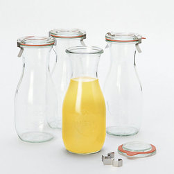 Contemporary Juice Jar - Set of 4 - A twist on the classic canning jar from Germany, this set of wide-mouth juice jars can be used as drinking glasses or storage for homemade iced teas, coffee, and juices.