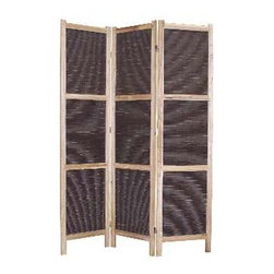 SUMATRA SCREEN - Divide your space with exotic elegance, when you use this coffee-hued panel wooden mat screen as a separator. Masterfully framed in Paulownia wood, this stately screen is finished on both sides, and is perfect for both indoor use, or out on the patio.