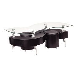 Global Furniture - Global Furniture USA 288BC Dontai Glass Coffee Table in Black w/ Black Stools - This modern coffee table is finished in black.  The s-shape design house extra storage and the stools can provide extra seating for any living room.