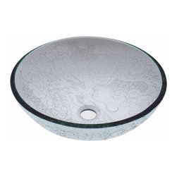 The Renovators Supply - Vessel Sinks Frosted/Etched Glass Dragon Round Vessel Sink | 12883 - Glass Vessel Sinks: Single Layer Etched Tempered glass sinks are five times stronger than glass, 1/2 inch thick, withstand up to 350 F degrees, can resist moderate to high degrees of impact and are stain-proof. Ready to install this package includes FREE 100% solid brass chrome-plated pop-up drain, FREE machined 100% solid brass chrome-plated mounting ring and silicone gasket. Measures 16 1/2 inch diameter x 6 inch deep x 1/2 inch thick.