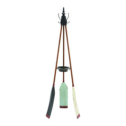 Benzara - Rowing Oar Coat Rack With Multiple Hooks - Keep the conveniences of home unique and fresh with this multiple use coat rack, made with rowing oars. This multi use rack is must have, and it has you covered for more than just coats. But also keep keys, umbrellas and loose change all in one spot. Place the coat rack next to the door for a unique and eye-catching convenience.