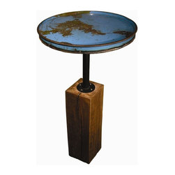 Groovy Stuff - Cobalt Pub Table - Contemporary style. Reclaimed and distressed. Made from reclaimed barrel pieces. Electric blue finish. 23 in. Dia. x 44 in. H (63 lbs.)The Moonshine Pub Table mixes the best of both worlds - reclaimed steel drum top mounted on a reclaimed teak base. It's urban and edgy and adds a pop of electric color to your home.